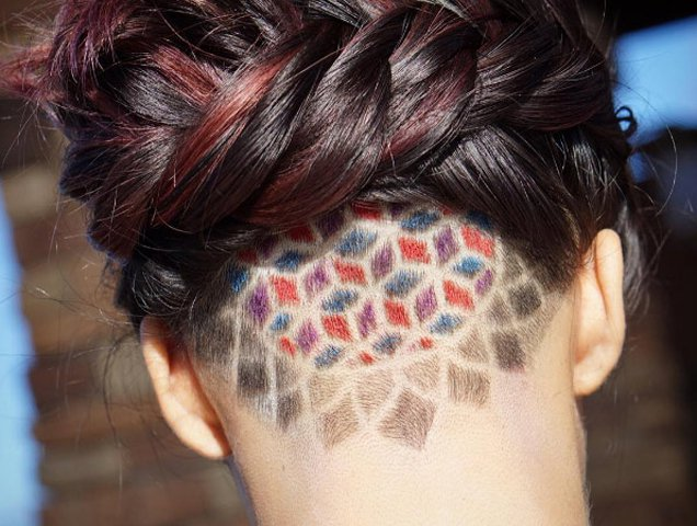 undercut curly hair female long
