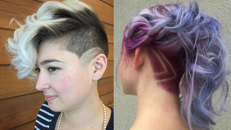 undercut female curly hair
