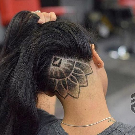 undercut hair female long hair