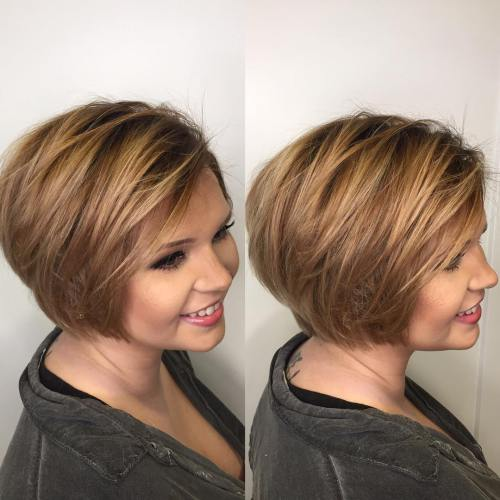 short hairstyle for round chubby face
